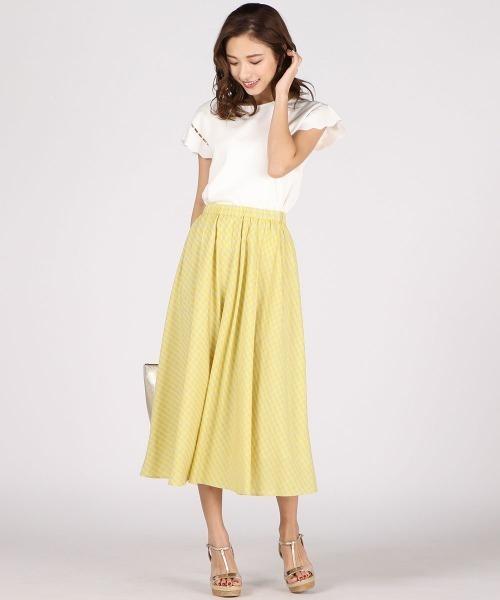 [QUEENS COURT] カラーギンガムチェックフレアスカート