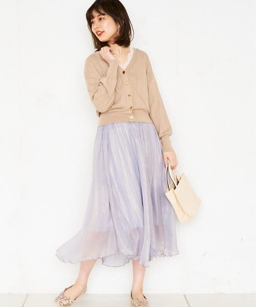 [natural couture] プチプラ金釦ランダムリブカーディガン