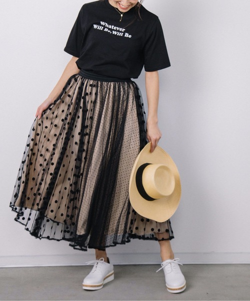 [miniyu] ドットチュールプリーツスカート