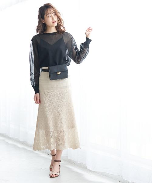 [ROPE' PICNIC] 【セットアップ対応】透かし編みニットロングスカート