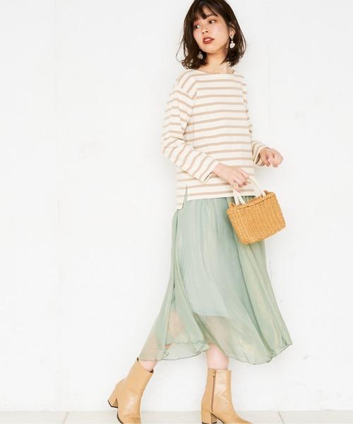 [natural couture] シアー箔スカート