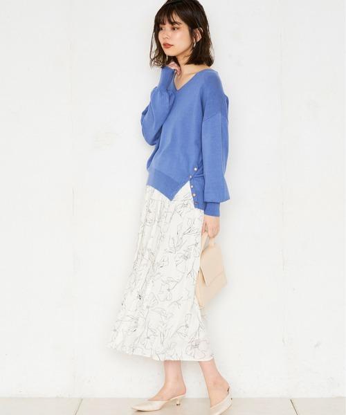 [natural couture] 線画花柄プリーツスカート