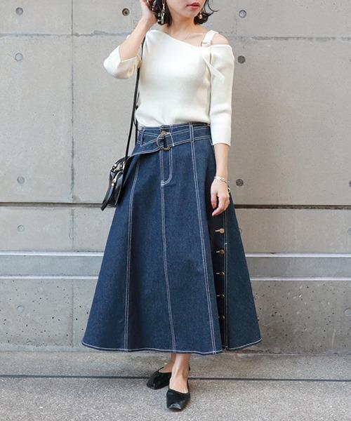 [RANDA] デニムボタンデザインフレアースカート