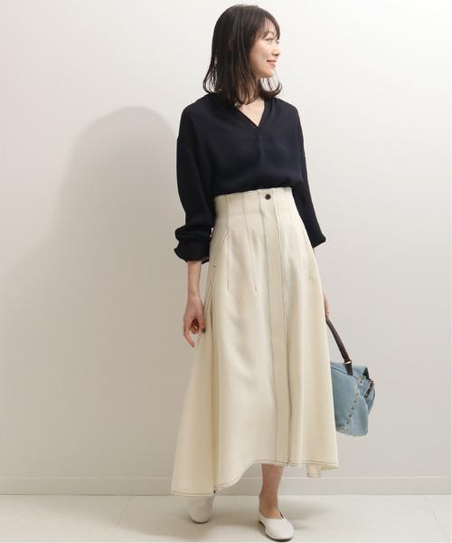 白スカートが爽やかなママコーデ