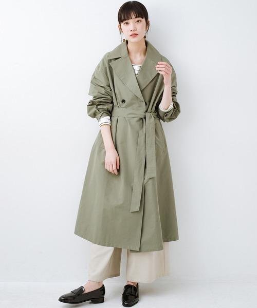 [haco!] いつものデニムも女っぽく仕上がる カジュアル派さんも着やすいウエストリボンコート