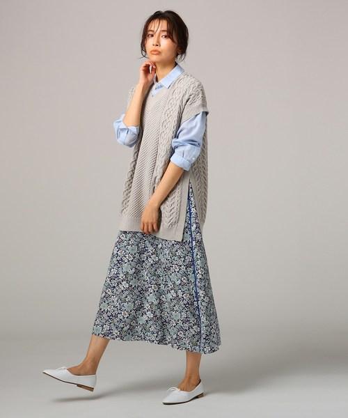 [UNTITLED] 【洗える】フラワープリントロングスカート