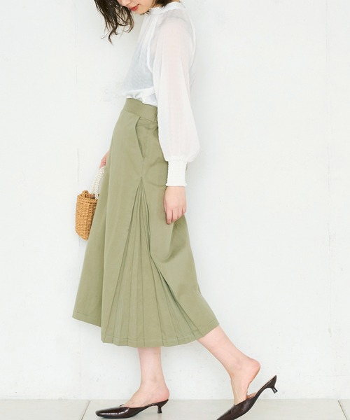 [natural couture] サイドプリーツチノスカート