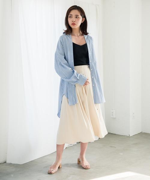 ストライプシャツ×フレアロングスカート