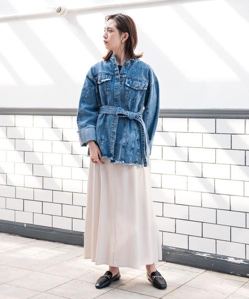 [YARD PLUS/AUNT MARIE'S] AUNT MARIE'S スタンドカラーデニムシャツジャケット