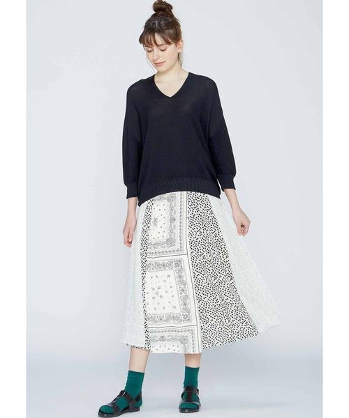 [FELISSIMO] 切り替えで華やか モノトーンスカート