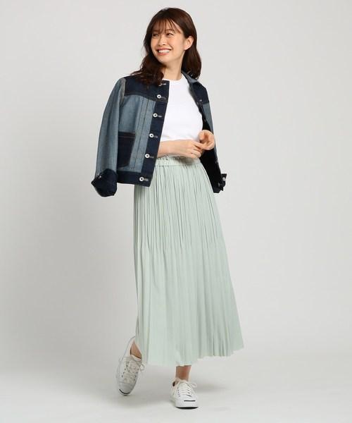 [WORLD ONLINE STORE SELECT] 【Sサイズあり・洗える】ウエストゴムジョーゼットプリーツスカート