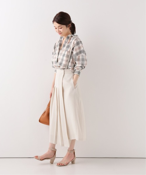 アシメプリーツスカート×チェックシャツ