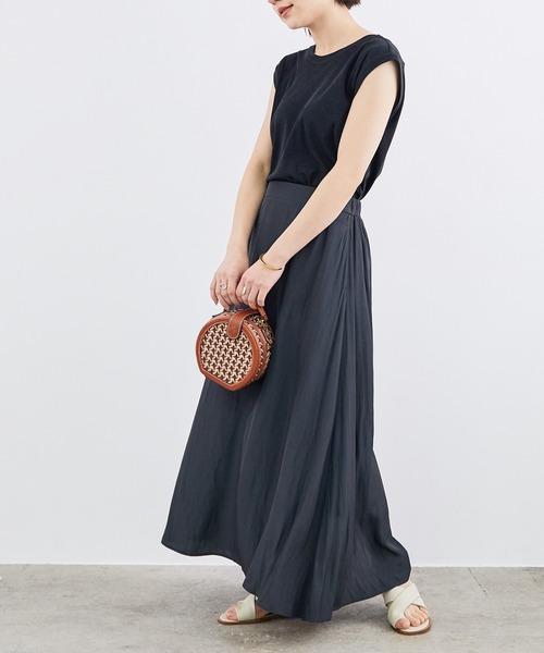 [ROPE'] 【WEB限定】サテンマキシスカート