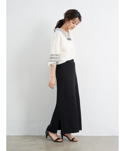 [CRAFT STANDARD BOUTIQUE] 【2020SS】MAXI KNIT SKIRT/スリット入りリブスカート〇
