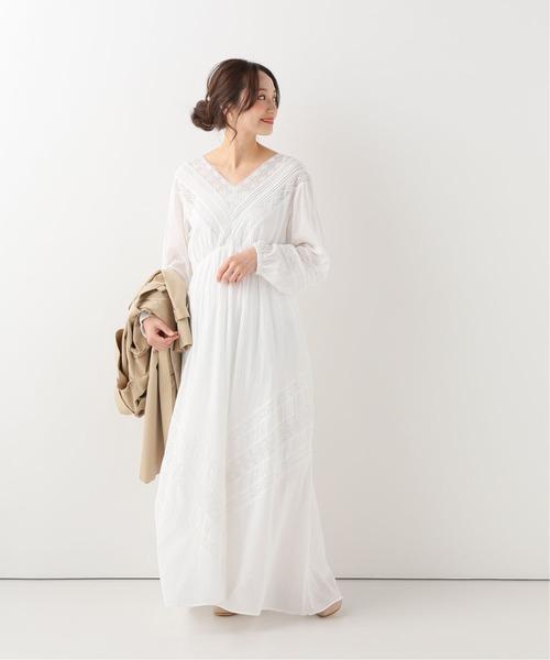 白色棉質長版連身裙