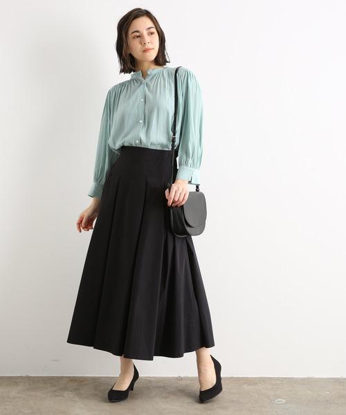 [ADAM ET ROPE'] ハイウエストボックスプリーツスカート