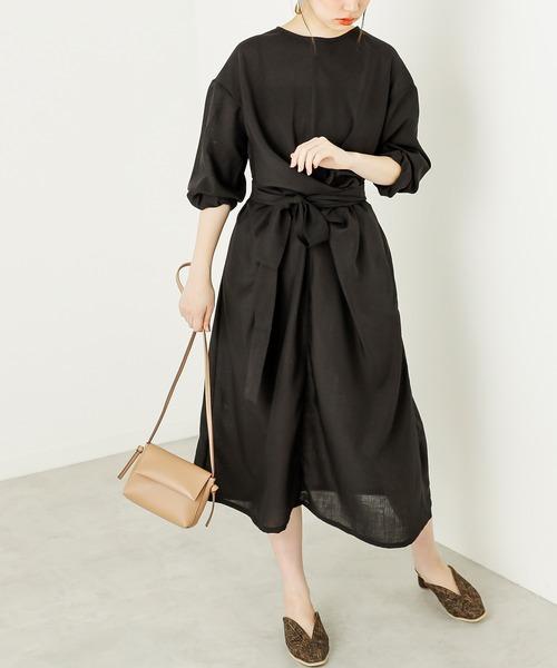 [natural couture] 【WEB限定】フロントツイストリボンワンピース