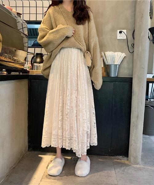 [ABITOKYO] 花柄刺繍レースロングスカート