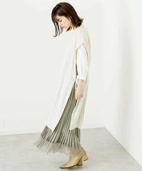 [natural couture] スカラップヘムプリーツスカート