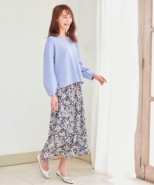 [SHOO・LA・RUE] 【M-LL】ナイルサテンギャザースカート