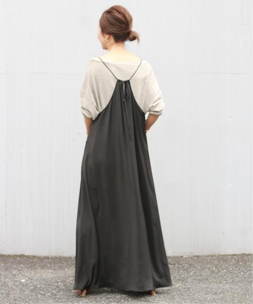 垂墜感細肩帶褶飾連身裙