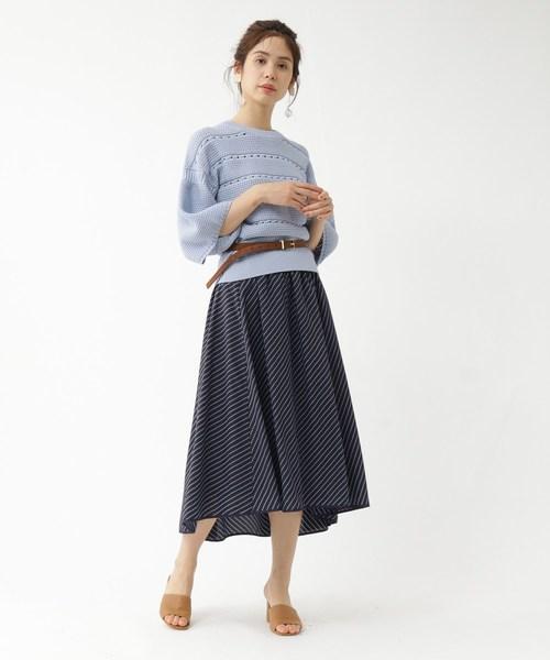 [aquagirl] 袖コンシャス模様編みニット