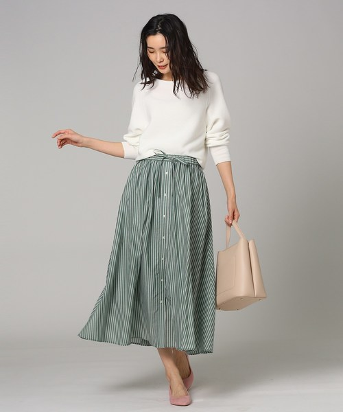 [UNTITLED] 【洗える】ローンストライプスカート