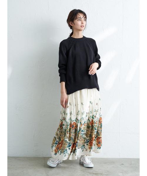 [CRAFT STANDARD BOUTIQUE] 【2020SS】BIG FLOWER PRINT SKIRT/大花MIXパネル柄ギャザーマキシスカート〇