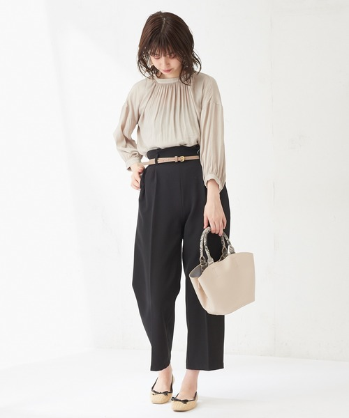 [natural couture] とろみサテンたっぷりギャザーブラウス