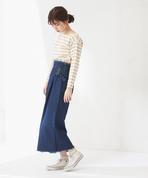 [natural couture] 両脇ベルト付デニムロングスカート