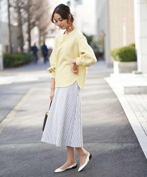 [MICHEL KLEIN HOMME] 【洗える】ストライプマーメイドスカート