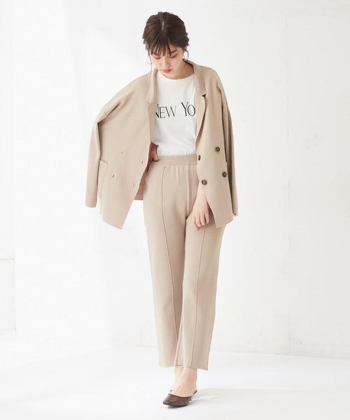 [natural couture] 総針編みダブルブレストジャケット