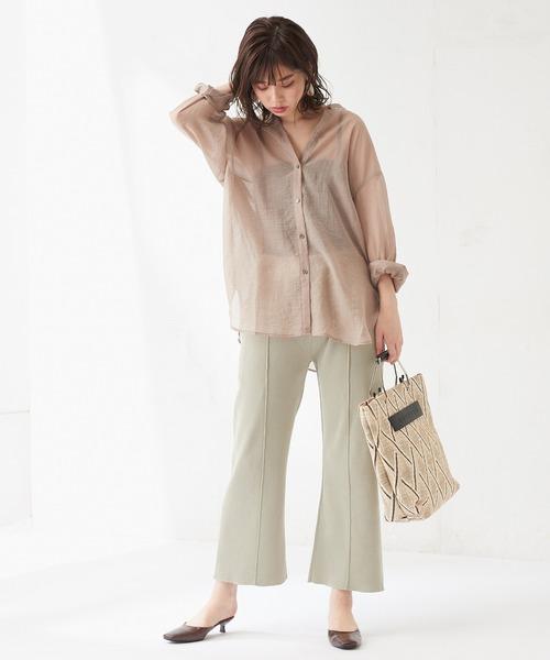 [natural couture] 総針編みセンタープレス風パンツ