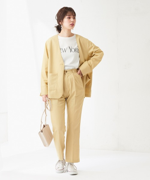 [natural couture] 【WEB限定】綿ライクノーカラージャケット+パンツ