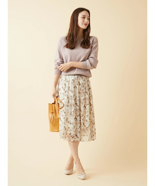 [Ailand] ぼかし大花柄オリジナルプリントエアリーフレアスカート