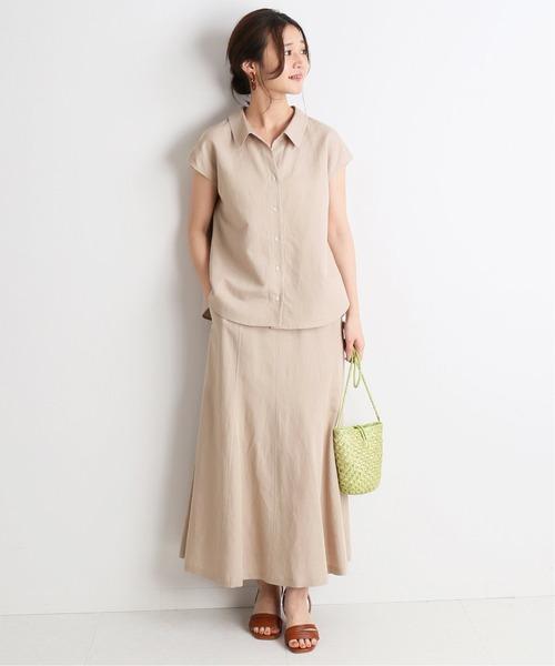 [IENA] リネン混襟付きブラウス×マーメイドフレアスカート◆