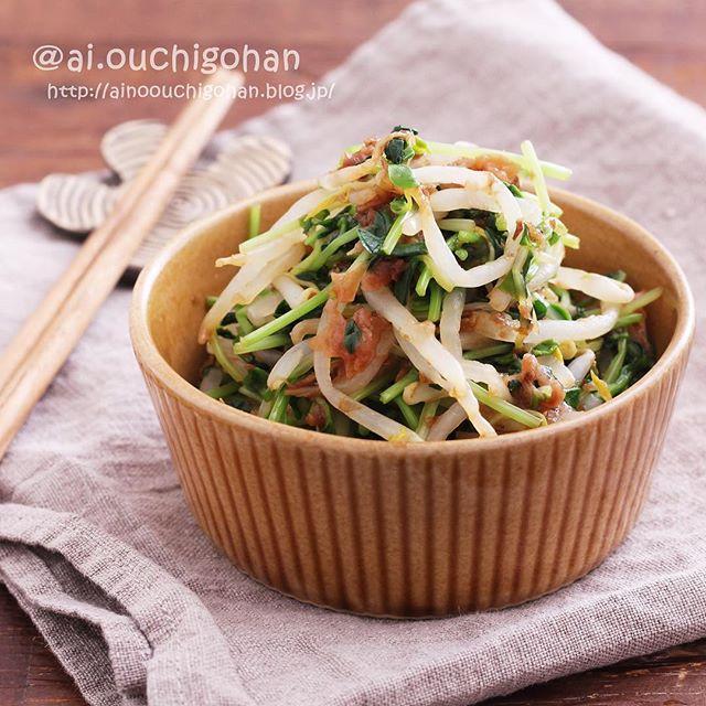 和食で父の日レシピ!もやしと豆苗の梅ポン和え