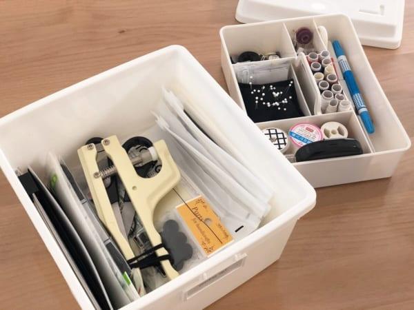 整理トレーと蓋つきボックスで裁縫グッズ収納