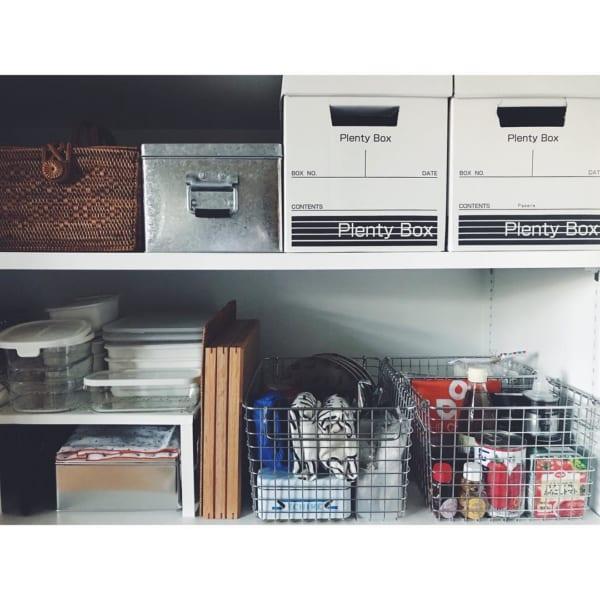 整理収納はかごやボックスを組み合わせて