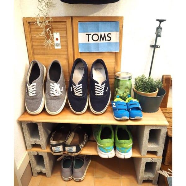 「ブロック」を活用したカンタン靴収納