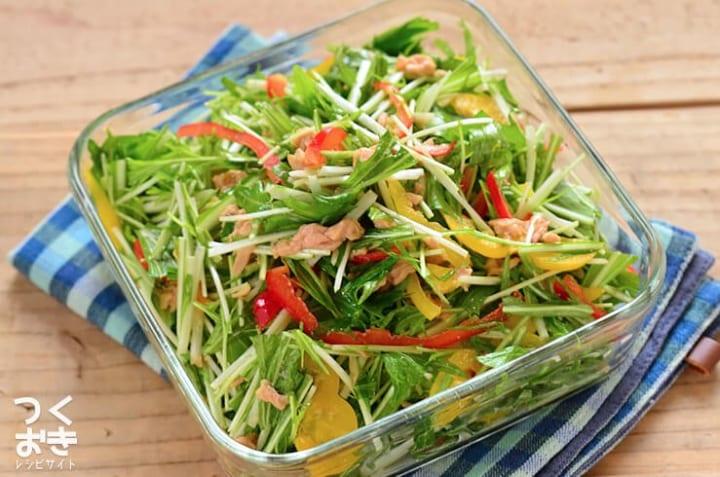人気の簡単な副菜!水菜とパプリカのサラダ