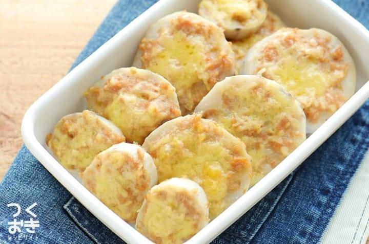 美味しいおつまみに!レンコン肉詰めチーズ焼き