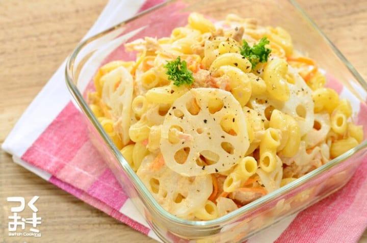 人気レシピ!レンコンとツナ缶のマカロニサラダ