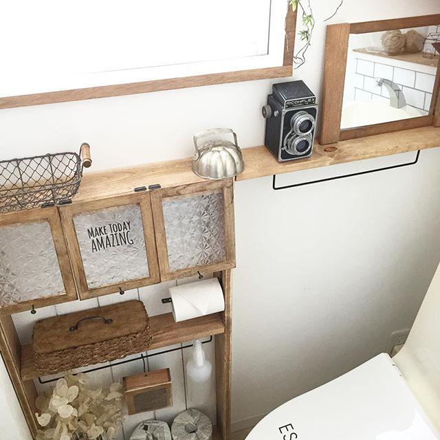トイレのおしゃれなDIYアイデア《木材》6