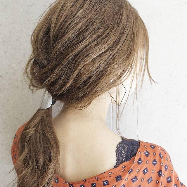 前髪なし×ポニーテールアレンジ《ヘアカラー》7