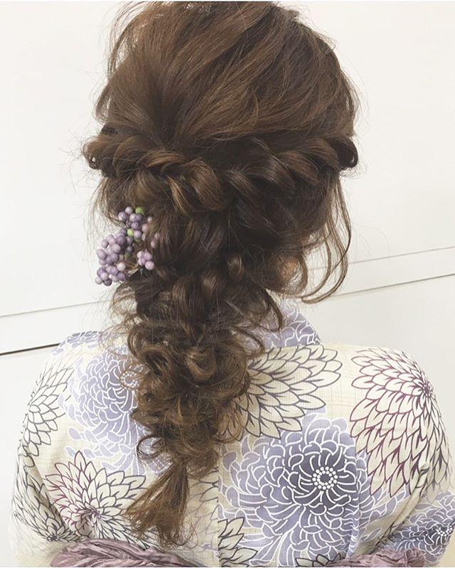 お祭りに似合う髪型【ロング×編み下ろし】2