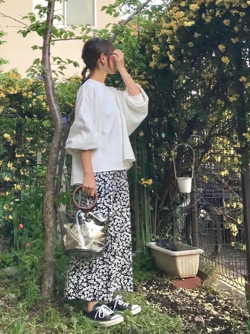 [CHOCOA] 産前産後フラワー マタニティロングスカート