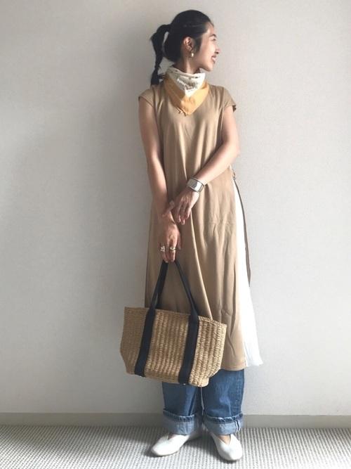 [La-gemme] 【半袖/長袖】サイドプリーツロングワンピース