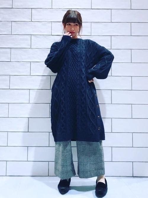 ウール調ワイドパンツのマタニティ冬コーデ