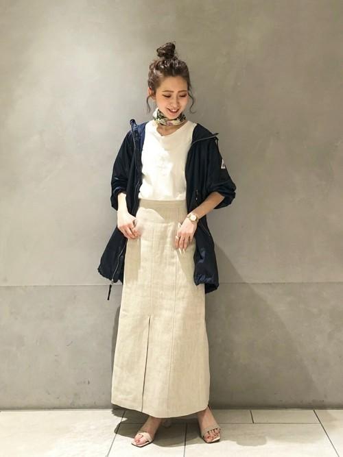 [Spick & Span] リネンヘリンボーンAラインスカート